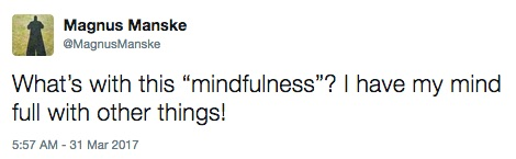 "Tweet: ""What's with this ""mindfulness""? I have my mind full with other things!"""